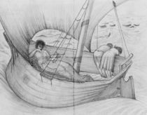 Mama, Gertie and Georgie travelling on a boat to France von Edward Coley Burne-Jones