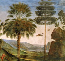 Man leaning on a staff, birds flying by Pietro Perugino