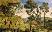 Goatherds and shepherds making music and dancing von Pietro Perugino