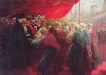 The Bazennes offering a silver fish to Alix of Hesse-Darmstadt von Emil Benediktoff Hirschfeld