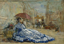 Woman in a blue dress under a parasol by Eugene Louis Boudin