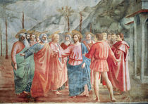 Detail of Christ and his disciples by Tommaso Masaccio