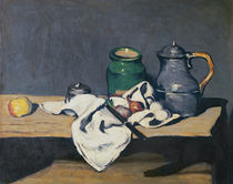 Still life with a tin kettle by Paul Cezanne