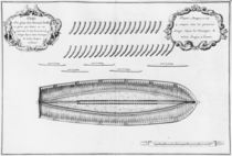 Plan of a vessel partly lined from the inside von French School