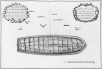 Plan of a vessel lined up to the false deck von French School