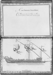 A galley with oars and flags by French School