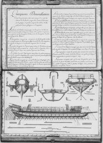 Construction of a galley with the prow and the stern by French School