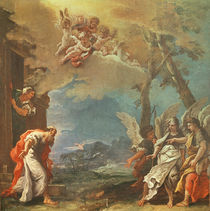 Abraham welcoming the Angels von Sebastiano Ricci