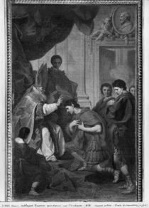 Emperor Theodosius I the Great receiving the pardon from St. Ambrose by Pierre Subleyras