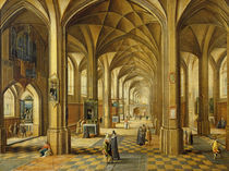 Interior of a Gothic style church with three naves von Hendrik the Younger Steenwyck