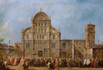 Easter Procession of the Doge of Venice at the Church of San Zaccaria by Francesco Guardi