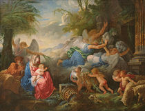 The Fall of the Idols and the Rest on the Flight into Egypt by Jean Jacques II Lagrenee
