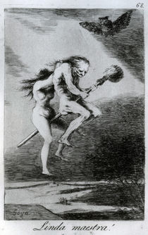 Pretty teacher!, plate 68 of 'Los caprichos' by Francisco Jose de Goya y Lucientes