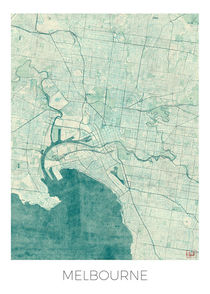 Melbourne Map Blue von Hubert Roguski