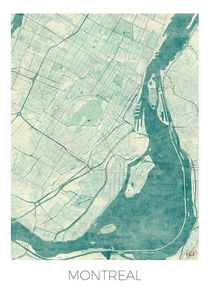 Montreal Map Blue von Hubert Roguski