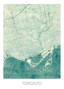 Toronto Map Blue von Hubert Roguski