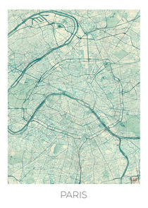 Paris Map Blue von Hubert Roguski