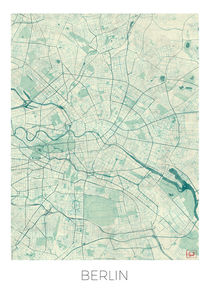 Berlin Map Blue by Hubert Roguski