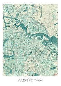 Amsterdam Map Blue von Hubert Roguski