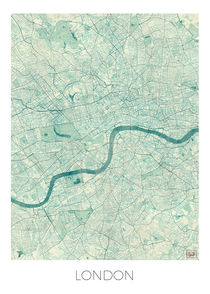 London Map Blue von Hubert Roguski