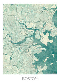 Boston Map Blue von Hubert Roguski
