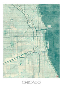 Chicago Map Blue by Hubert Roguski