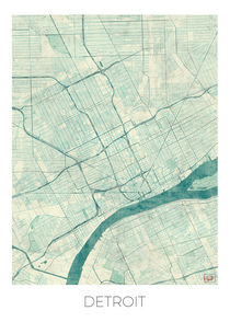 Detroit Map Blue von Hubert Roguski