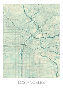 Los Angeles Map Blue by Hubert Roguski
