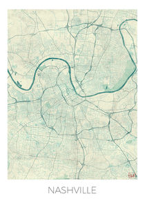 Nashville Map Blue von Hubert Roguski