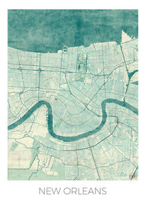 New Orleans Map Blue by Hubert Roguski