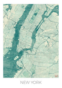 New York Map Blue von Hubert Roguski