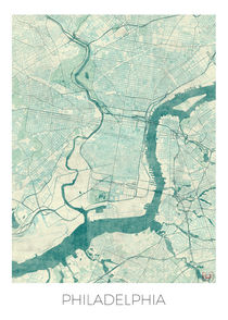 Philadelphia Map Blue von Hubert Roguski