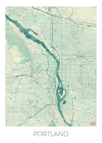 Portland Map Blue von Hubert Roguski
