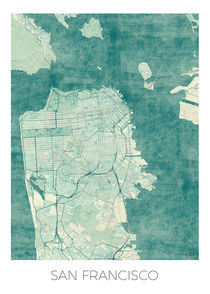 San Francisco Map Blue von Hubert Roguski