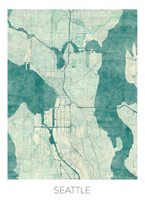 Seattle Map Blue by Hubert Roguski