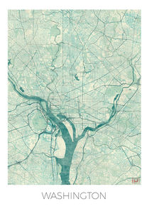Washington Map Blue von Hubert Roguski