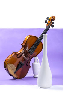 Still life with violin and white vases on a purple by Valentin Ivantsov