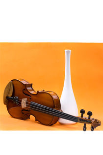 Still life with violin and white vase on an orange background by Valentin Ivantsov