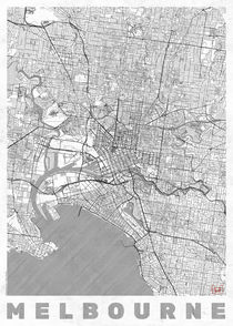 Melbourne Map Line von Hubert Roguski