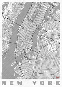 New York Map Line von Hubert Roguski
