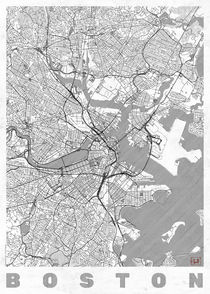 Boston Map Line von Hubert Roguski