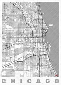 Chicago Map Line von Hubert Roguski