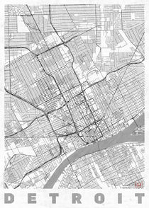 Detroit Map Line von Hubert Roguski