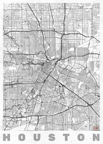 Houston Map Line von Hubert Roguski