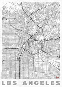 Los Angeles Map Line von Hubert Roguski