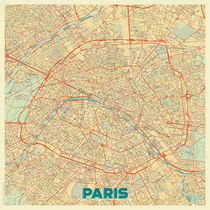 Paris Map Retro by Hubert Roguski