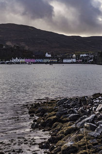 Row of coloured houses on the quay of Portree Harbour, from Scorrybreac by Bruce Parker