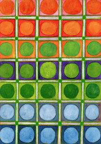 Beautiful Rainbow Colored Circles in a Grid  by Heidi  Capitaine