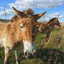 DeepDream – Przewalski-Pferde mit Traumgeschöpfen by schroeer-design