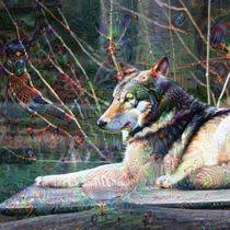 DeepDream – Wolf mit Traumgeschöpfen by schroeer-design